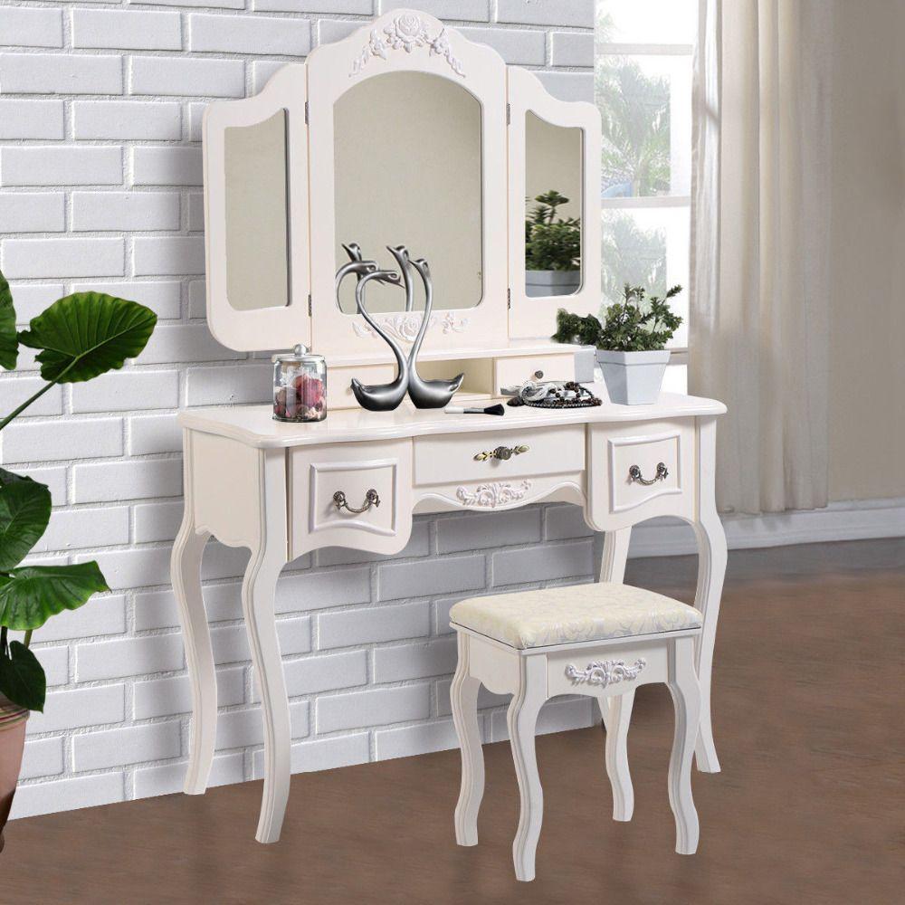 Moderne Witte Kaptafel.Make Up Kruk Nieuwe Witte Make Up Tafel Hout Sieraden Tafel En