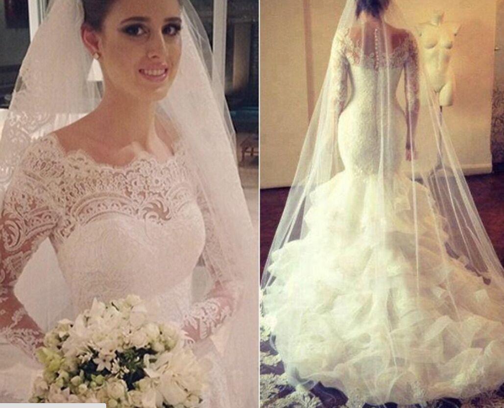 Long sleeve lace wedding dress mermaid  Amazing Long Sleeve Lace  Wedding Dress Mermaid OrganzaHigh