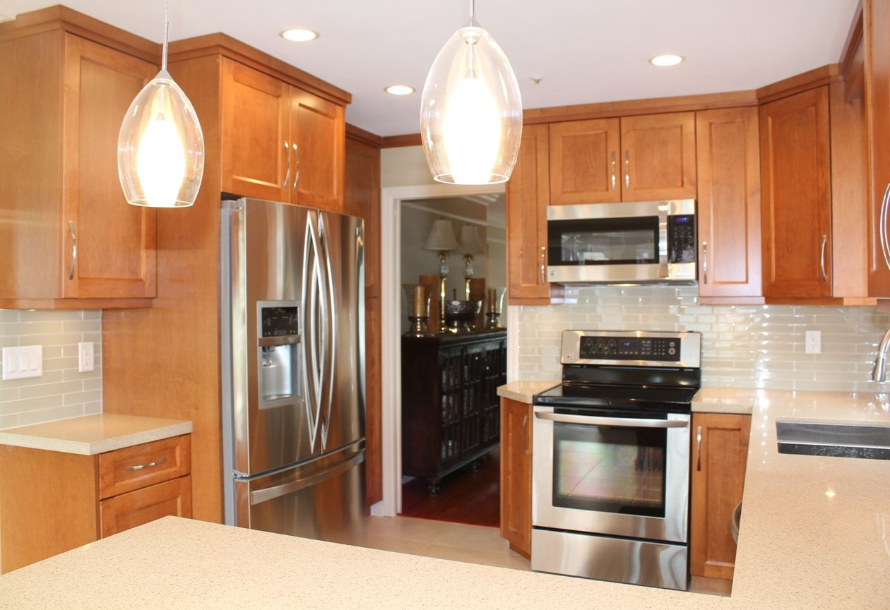 Burnaby Kitchen Renovation. Stained Maple Custom Cabinets ... on Maple Kitchen Cabinets With Quartz Countertops  id=34865