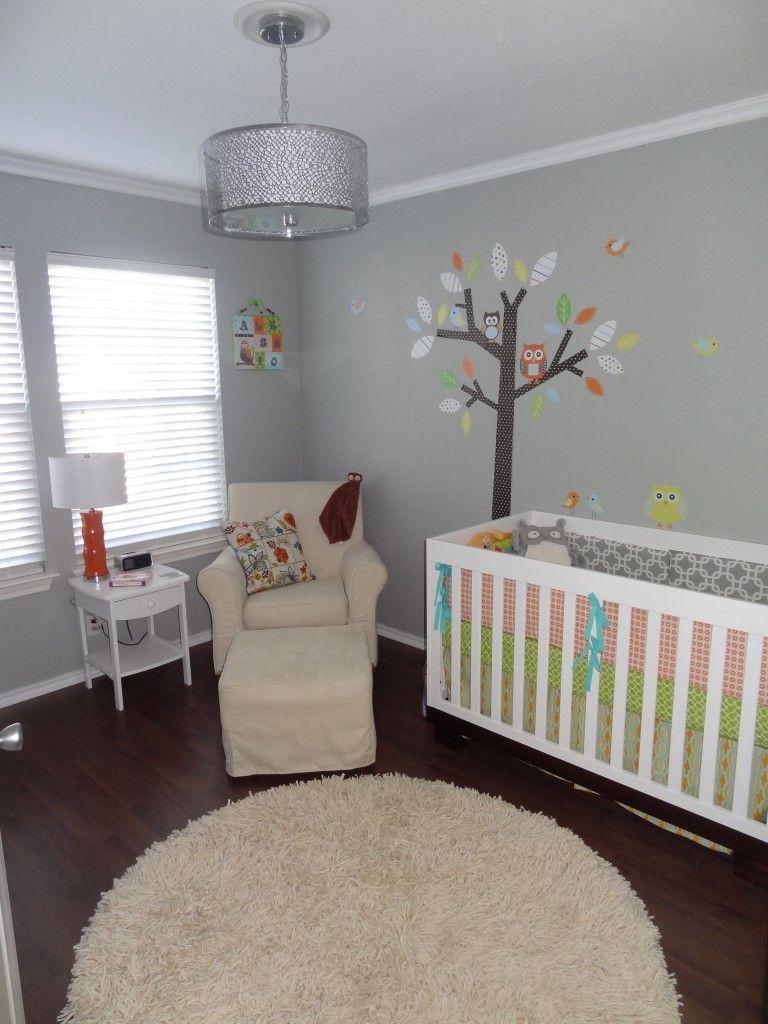 Serene Gray Owl Modern Nursery | Cuarto de bebe, Bebe y Bebé