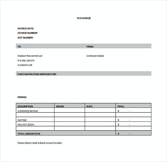 Contractor Invoice Template  Basic Invoice Template And General