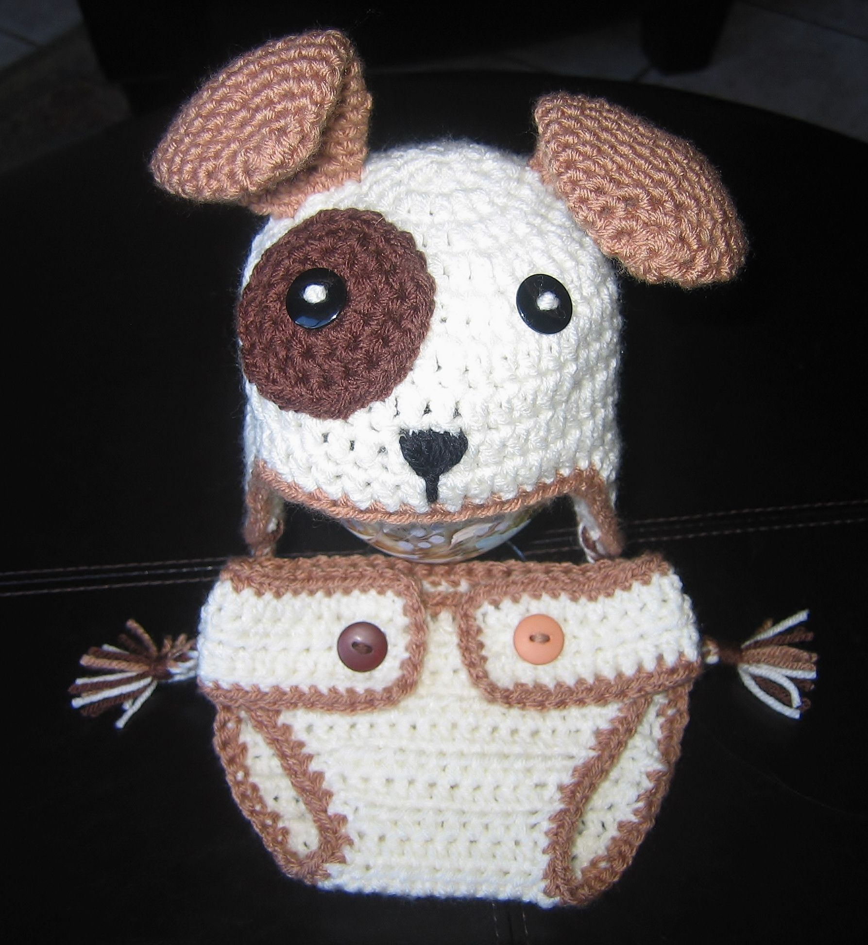 Crochet puppy dog hat and matching diaper cover with tail