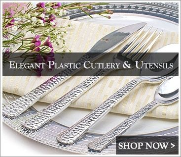 Elegant Plastic Wedding Tableware Sets & Elegant Plastic Dinnerware - Posh Party Supplies | Elegant Party ...