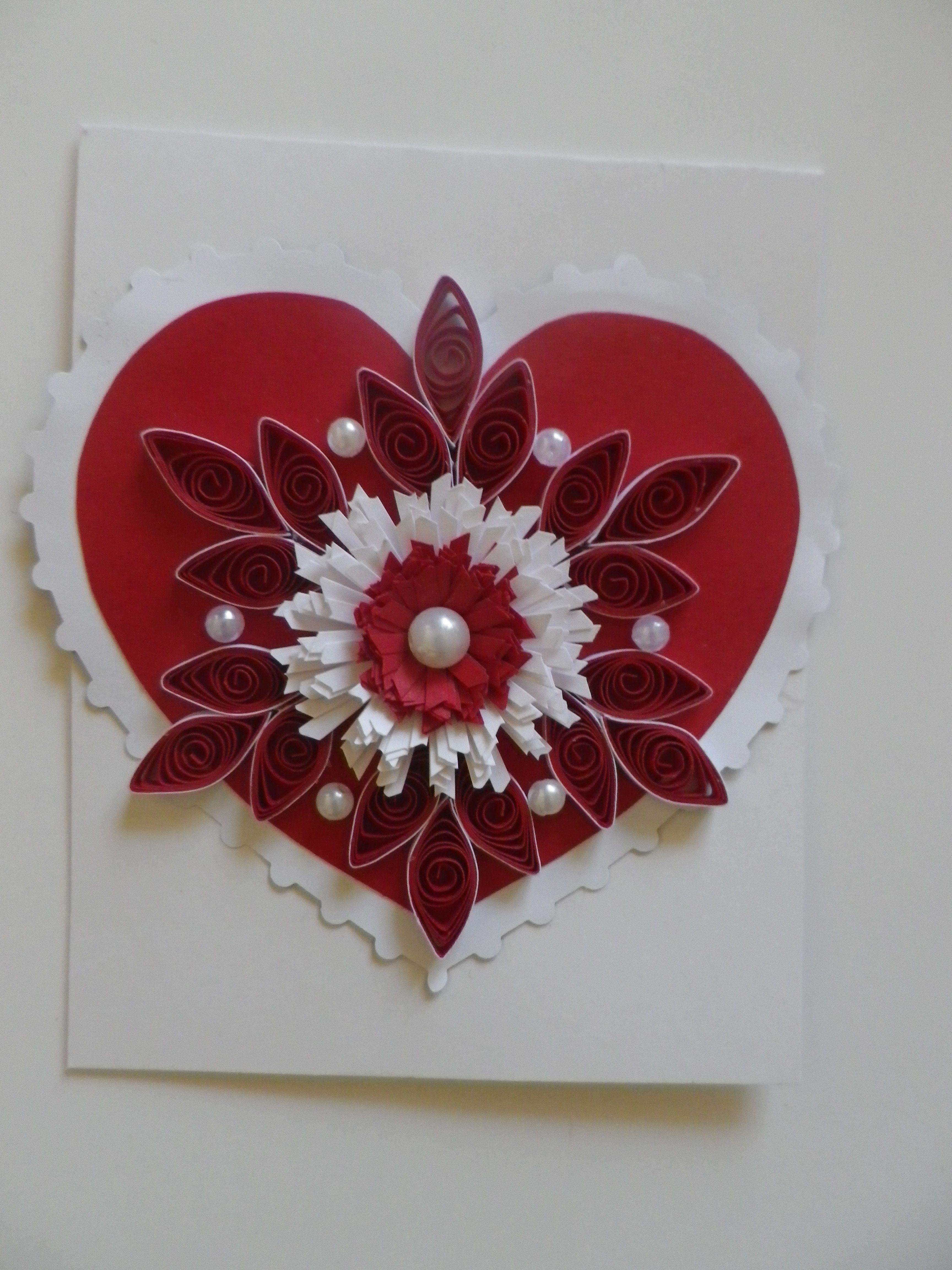 Carte de voeux artistique coeur rouge, modèle unique fait main par AnamorArt