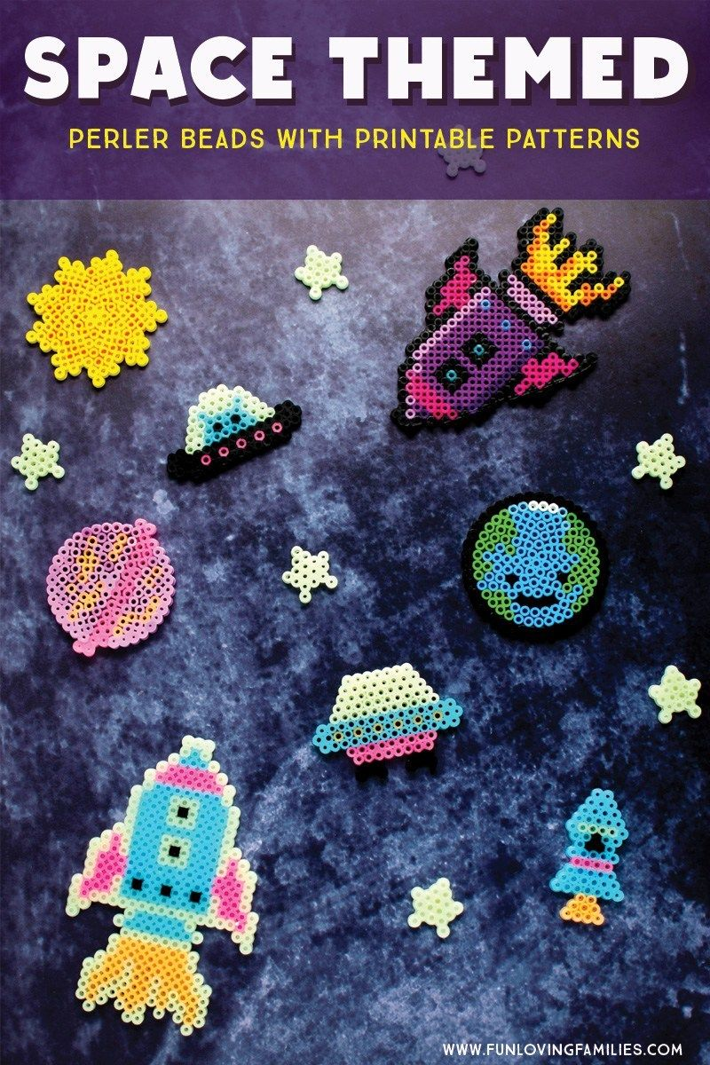 Space Themed Perler Bead Patterns (with Printable Templates) - Fun Loving Families