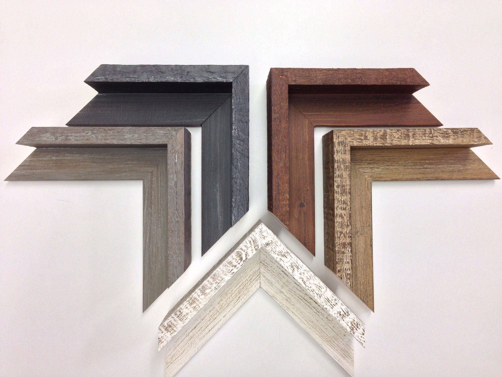 new rustic natural wood floater frame samples for deep gallery wrap canvas artwork just arrived these custom picture frames have lots of texture