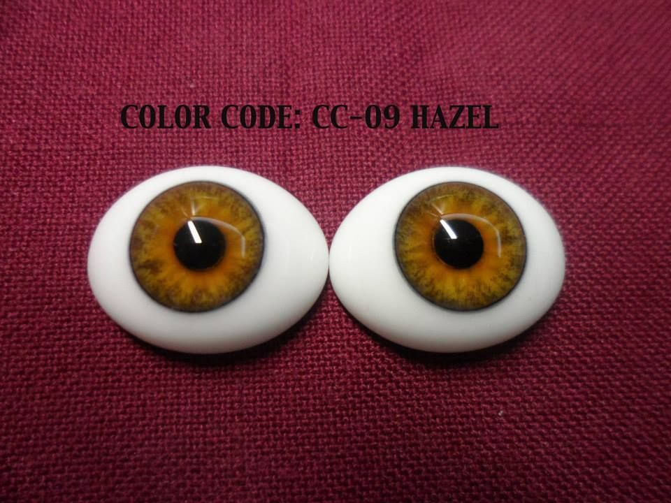 Pabol 16MM CA01  BLUE Glass Eyes Oval Flatback for reborns