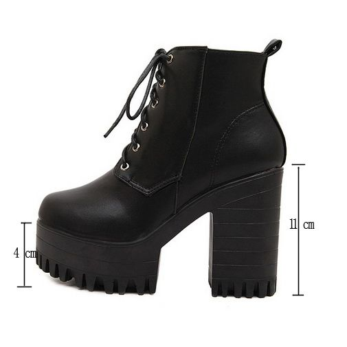 Women Chunky Heels Platform Cleated Pump Martin Boots Lace Up Ankle Black US 8 | eBay