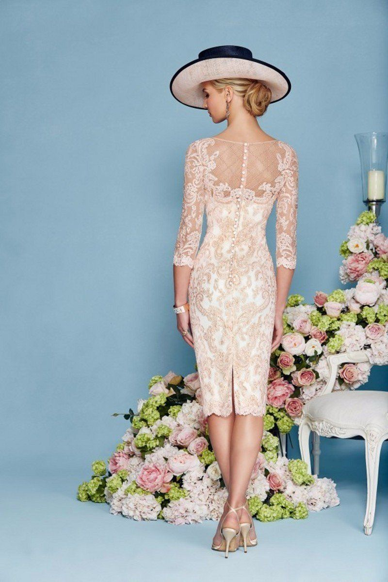 Pink lace dress with jacket   Sleeves SheathColumn Chiffon Lace Mother of the Bride Dresses