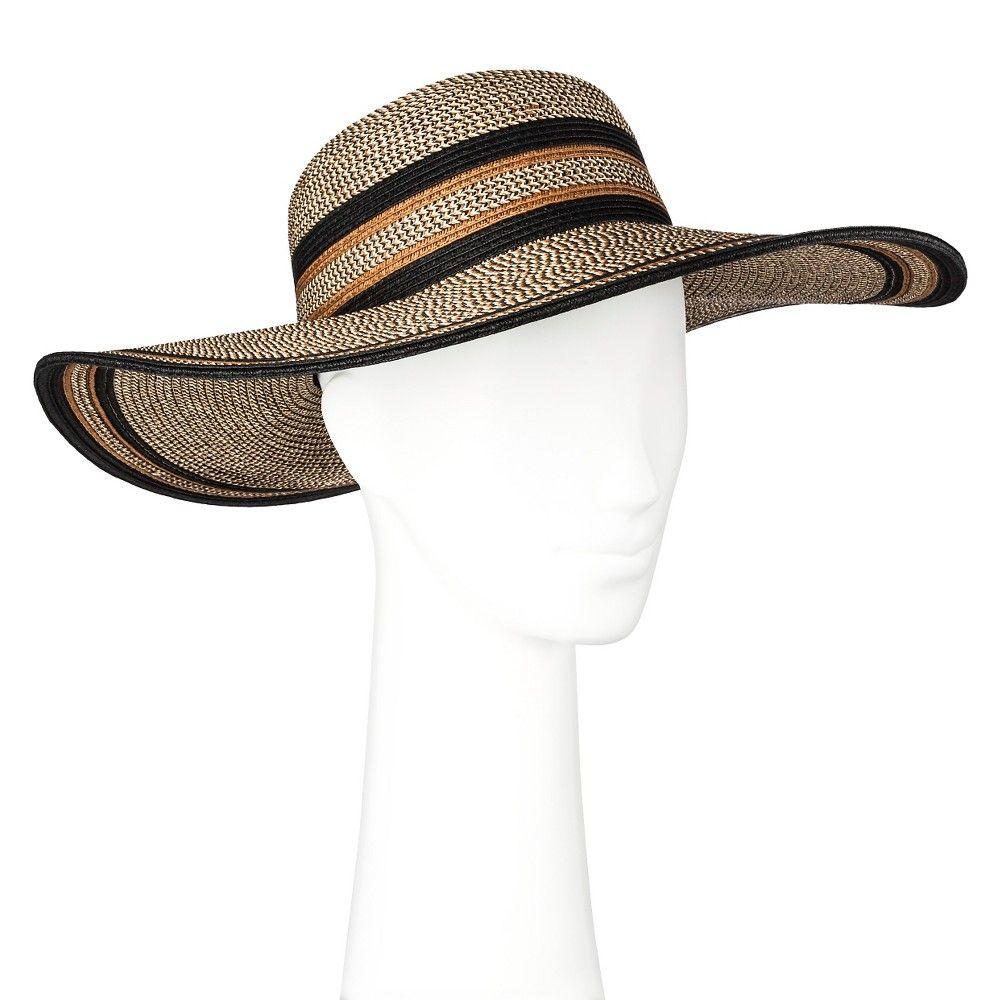924e0dc099a Women s Floppy Straw Hat Black and Brown - Merona