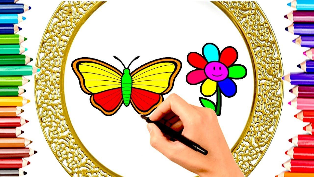 Teach Children Draw Butterfly Flower Coloring Book Kids Learn Eng Kids Coloring Books Drawing For Kids Kids Learning