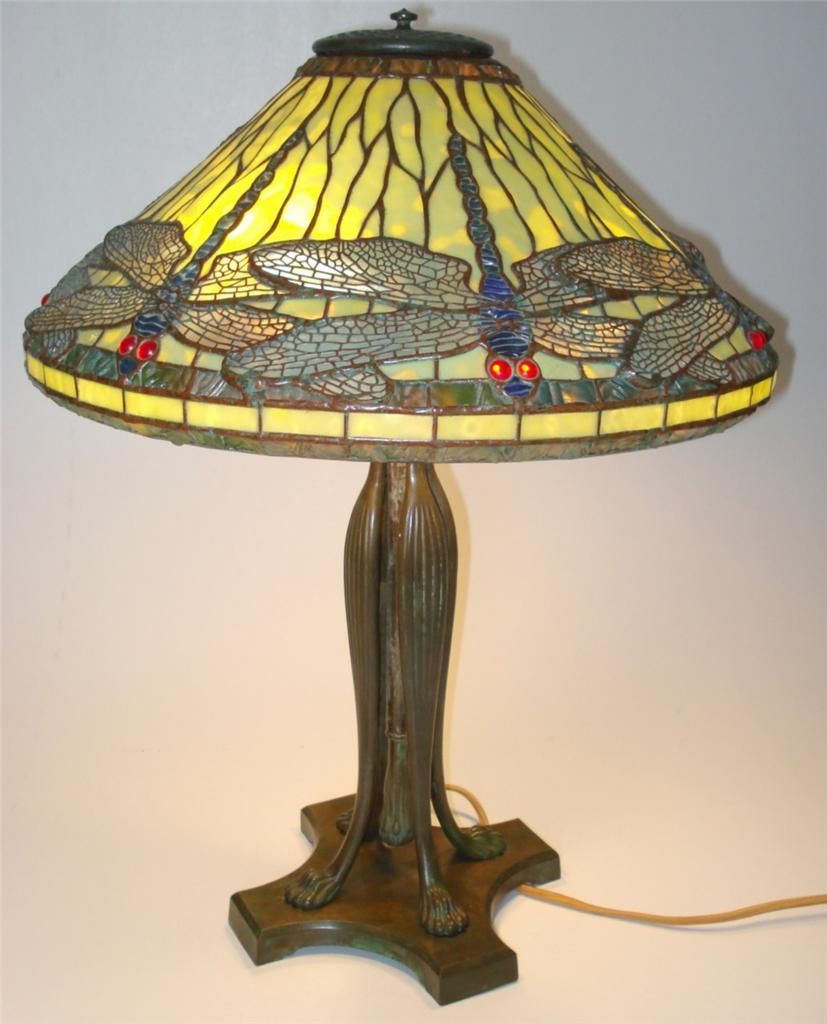 Rare Tiffany Studios Dragonfly Shade Stained Glass Lamp
