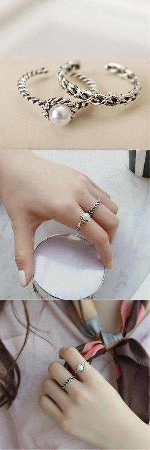 2PCS Fashion Vintage Silver Open Ring #sanpedrosula