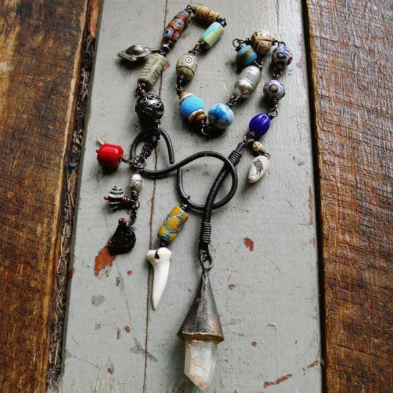 Rustic assemblage Raw quartz Assemblage necklace by quisnam
