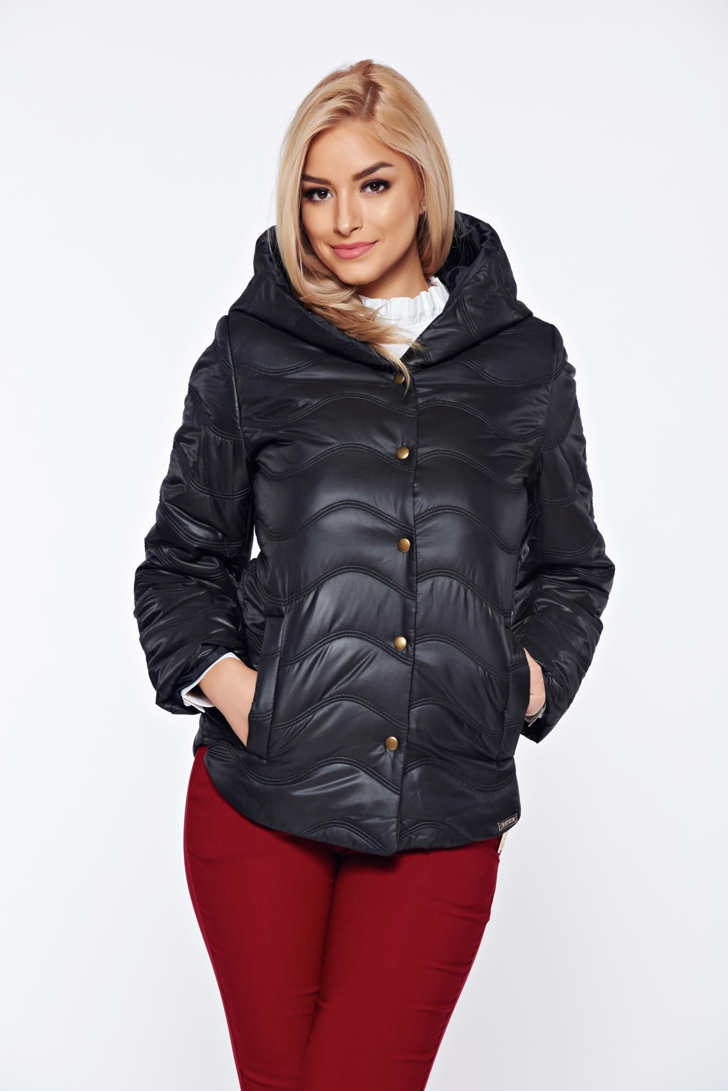 Black casual jacket from slicker with undetachable hood womens