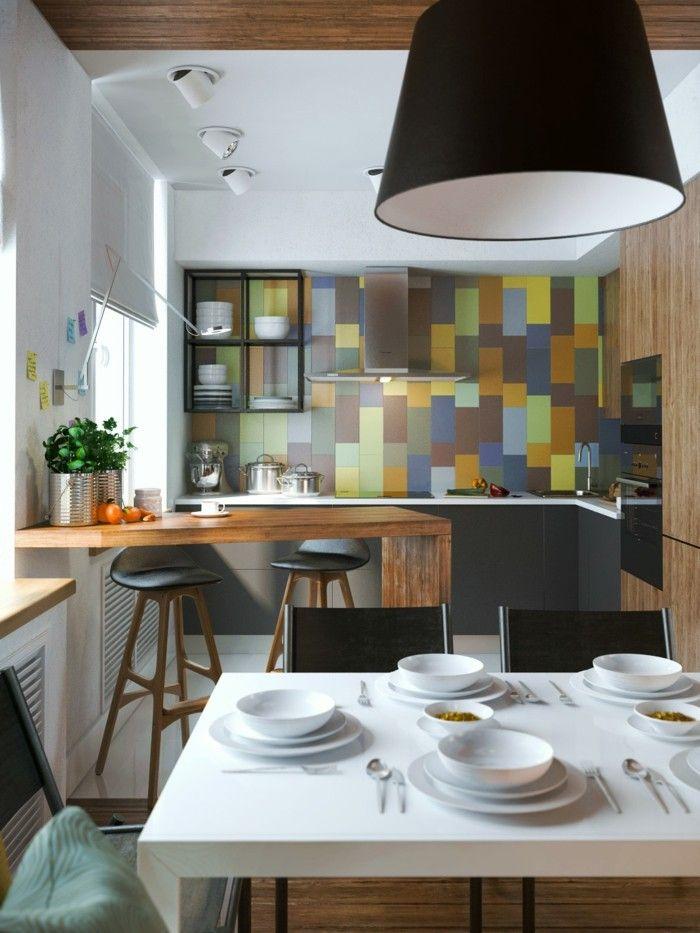 bunte küche küchenrückwand kleine küche gestalten | Küche Möbel ...
