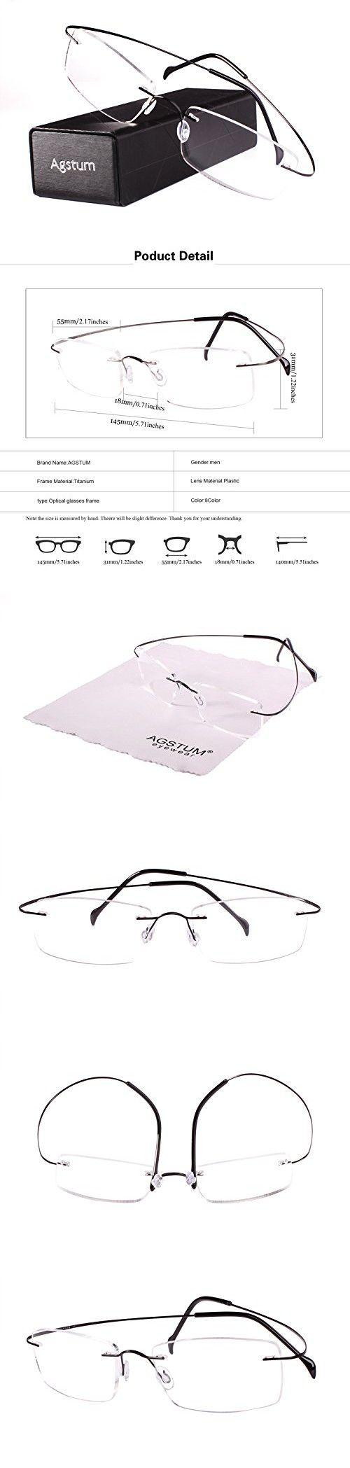 005d8d2012d Agstum Pure Titanium Rimless Frame Prescription Hingeless Eyeglasses Rx  (Black