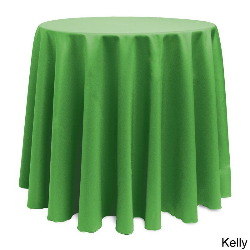 Solid Color 120-inches Round Vibrant Tablecloth (Kelly), Green