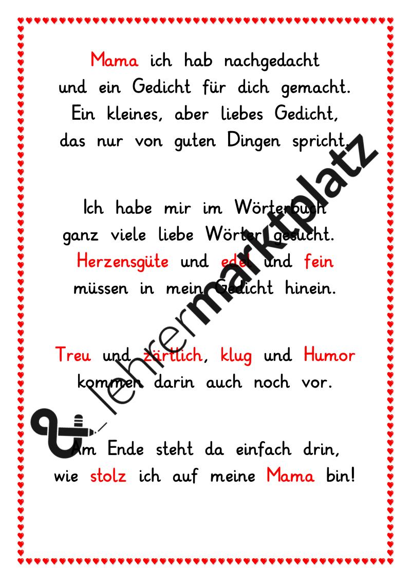gedicht zum muttertag deutsch kostenlose unterrichtsmaterialien pinterest gedicht zum. Black Bedroom Furniture Sets. Home Design Ideas