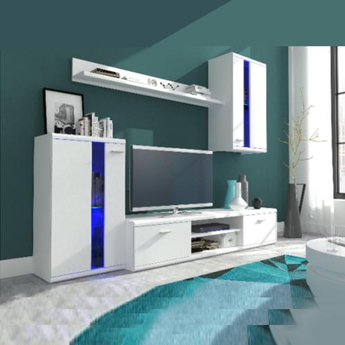 طاولة تلفاز بديكور علوي كامل مع اضائة ليد Play Homedecor Tvshows Tvtab Modern White Living Room Living Room Sets Furniture White Furniture Living Room