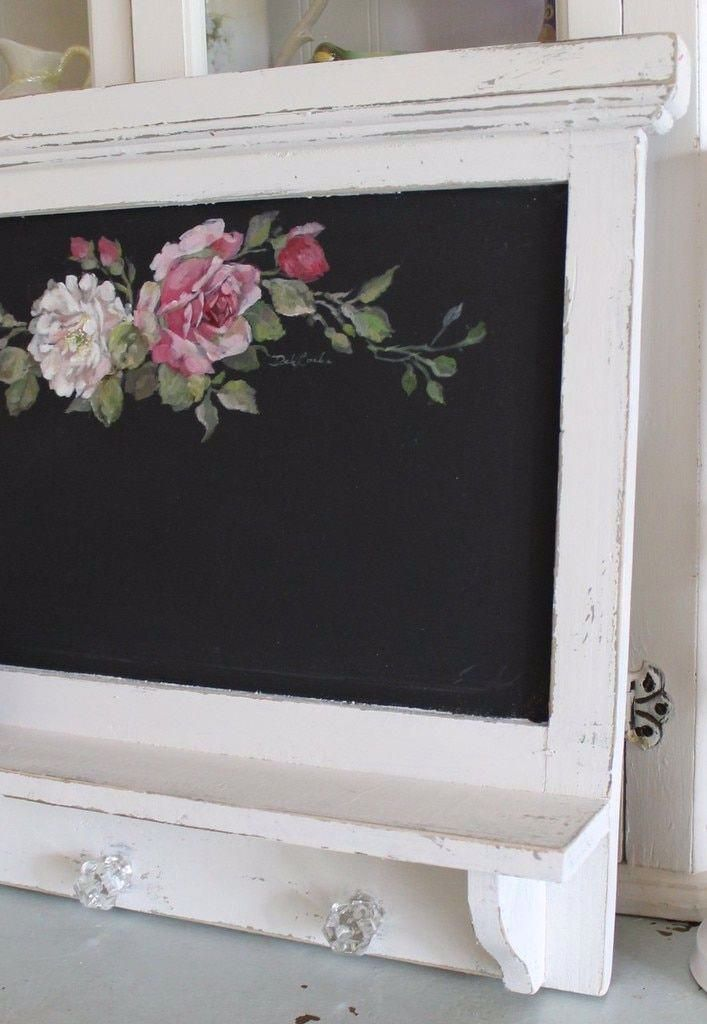 Custom Color and Decorative Shabby Romantic Vintage Style Roses Chalkboard with Shelf