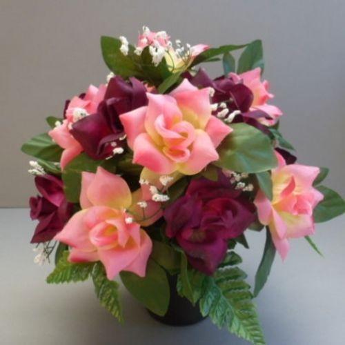 Pot for memorial vase with artificial gerberas | Artificial grave ...