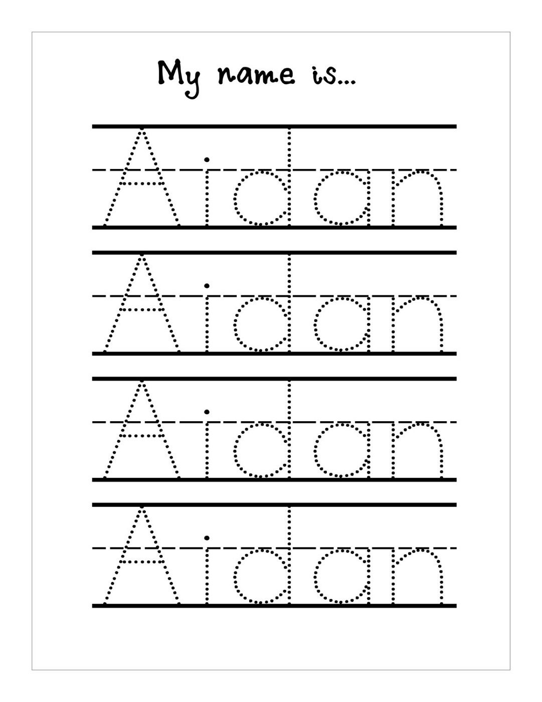 Traceable Name Worksheets
