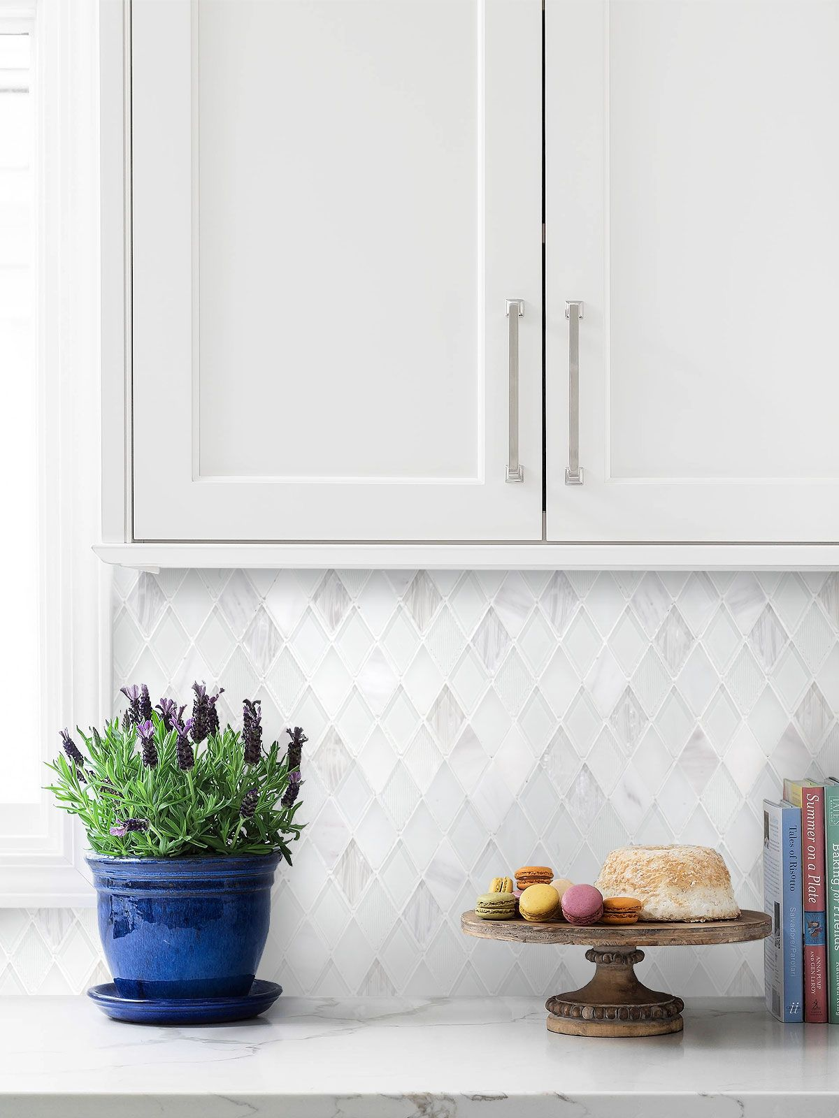 - Elegant White Rhomboid Backsplash Tile Backsplash.com White