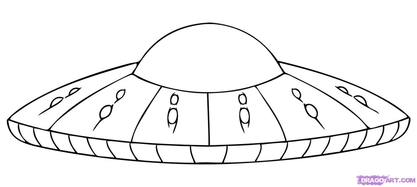 How To Draw A UFO, Step By Step, Space Crafts, Sci-fi