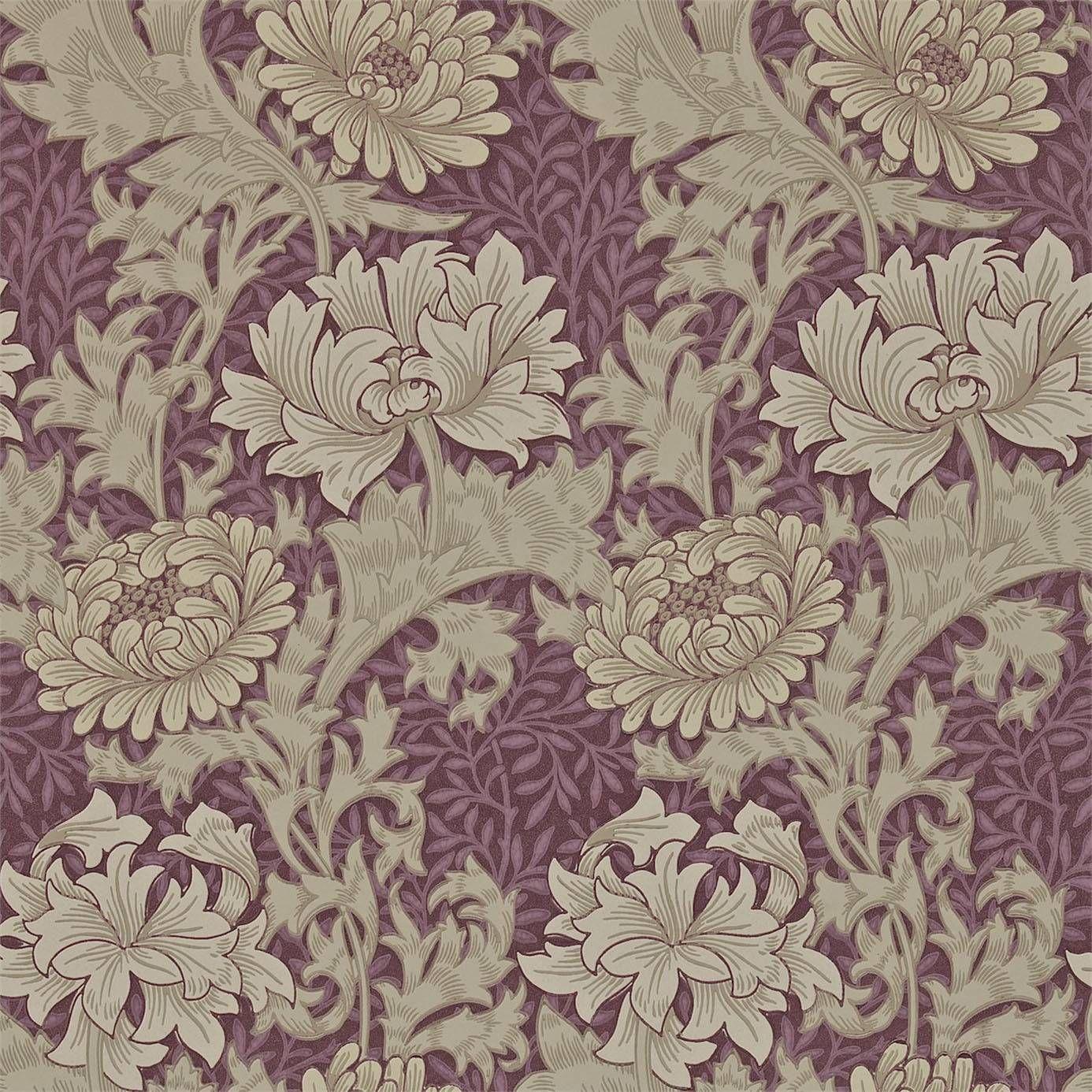 William Morris & Co Chrysanthemum Wallpaper WineProduct