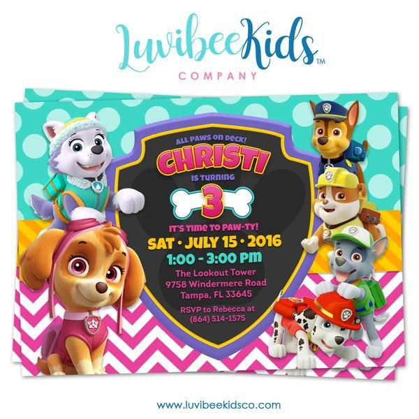 paw patrol birthday invitation girl style in 2018 sophia s 6th