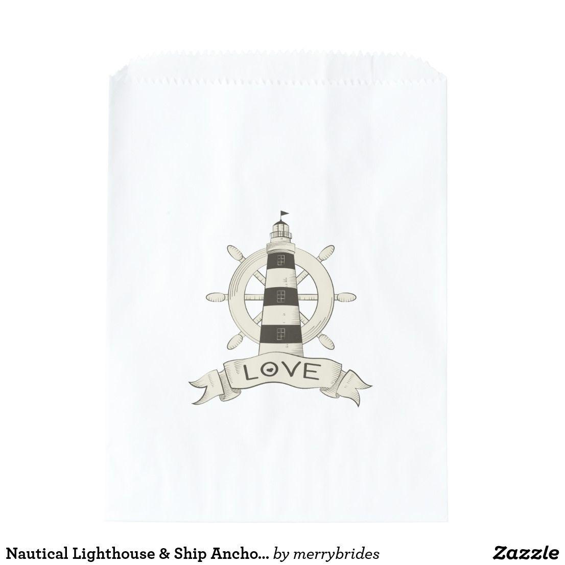 Nautical Lighthouse & Ship Anchor Tan Wedding Love Favor Bag ...