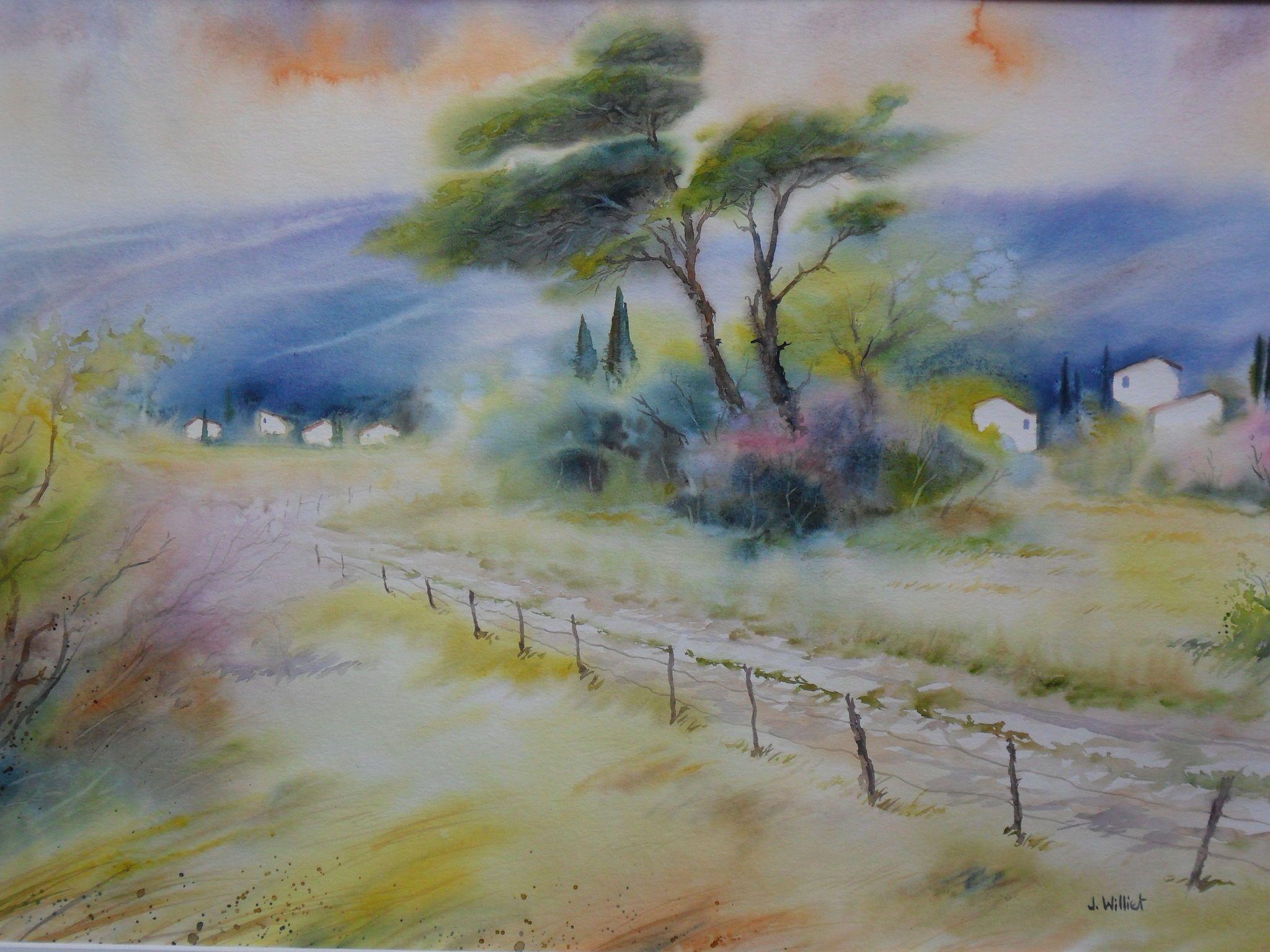 Chemin De Campagne En Luberon 45 X 60 Cm Tableau Peinture A L