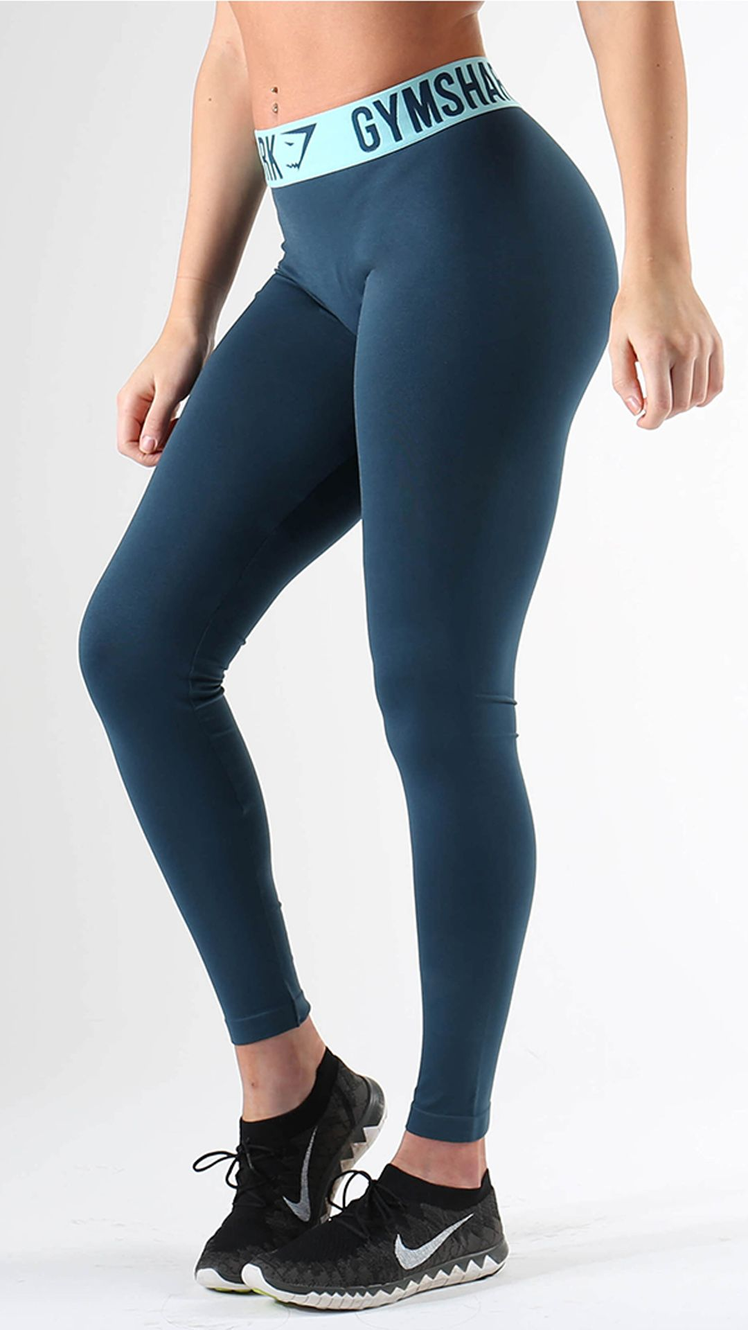 cce3bc0c4ac329 Fit Leggings in Lagoon Blue are form hugging and figure flattering workout  leggings with the famous Gymshark performance waistband
