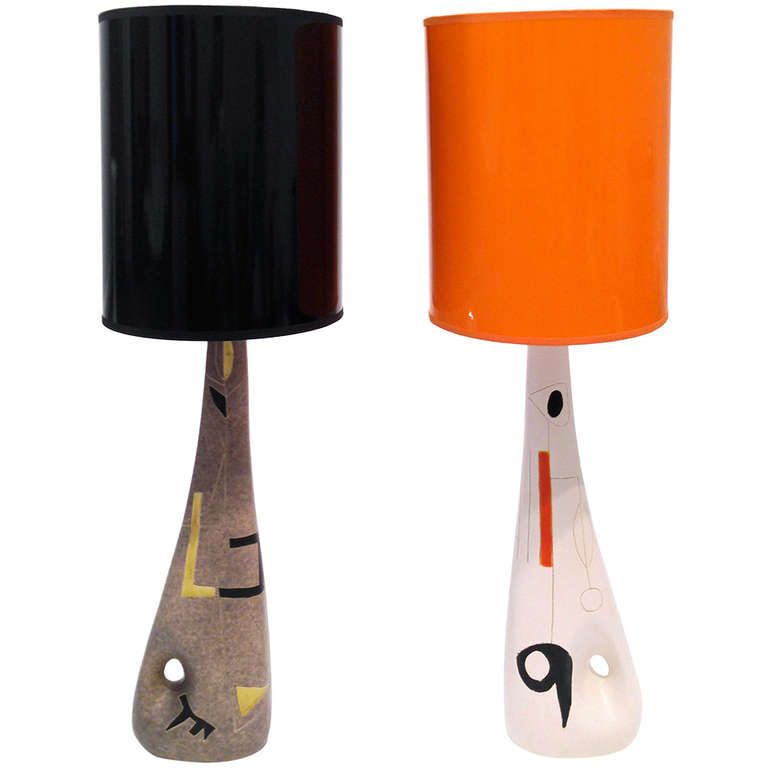 Mid 20th century ceramic table lamps by denise peter for Mid century modern furniture orlando