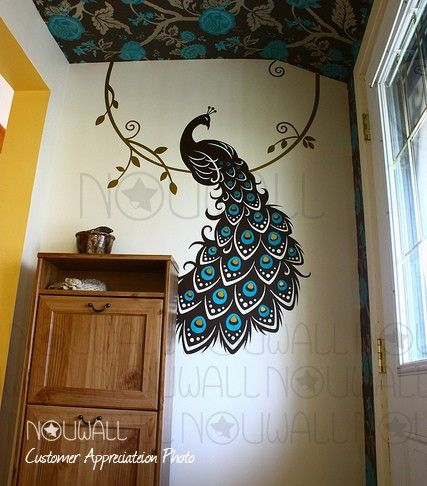 Black, Teal, And Olive Peacock Wall Decal. Part 55