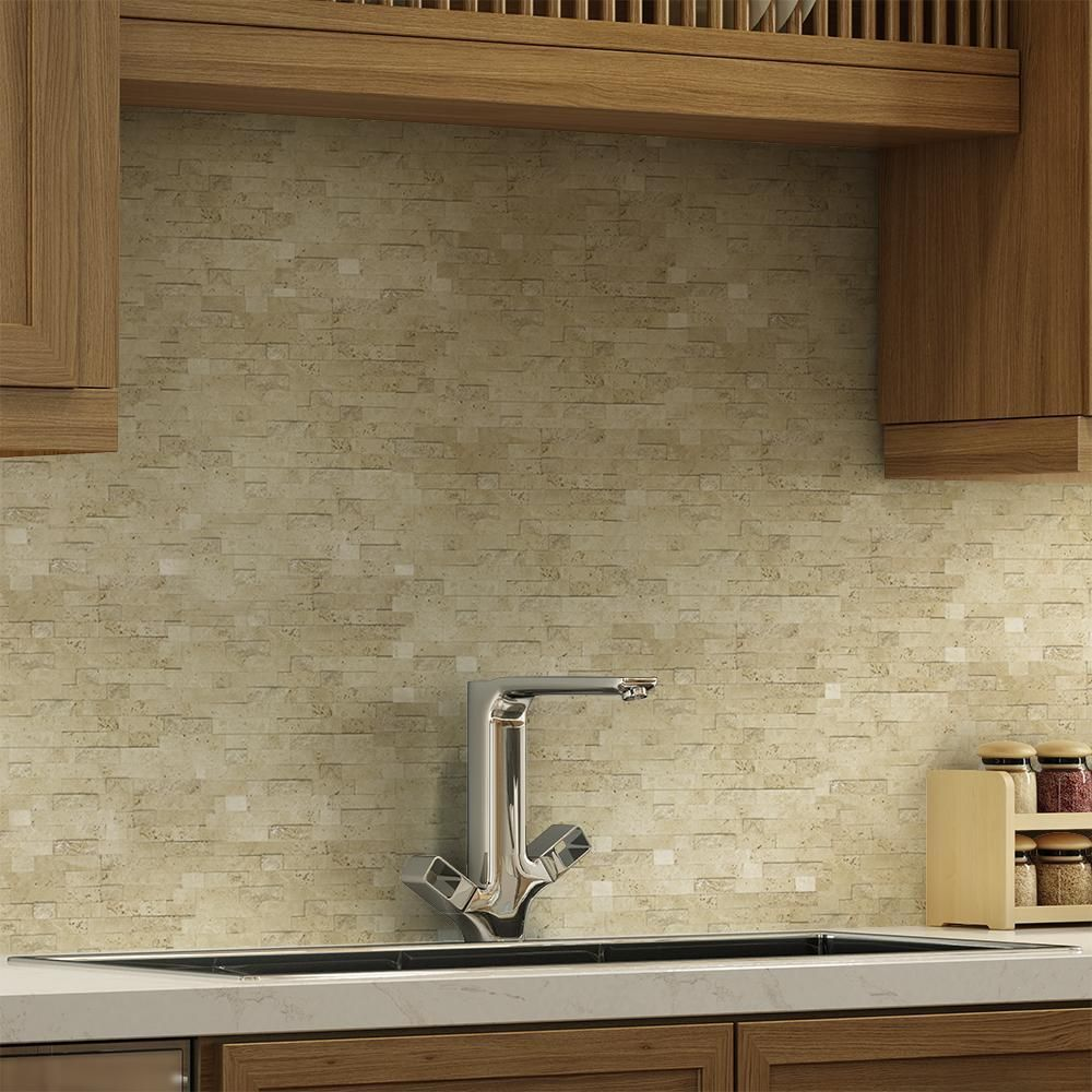 - MTO0217 Peel And Stick Linear Beige Glazed Travertine Mosaic Tile