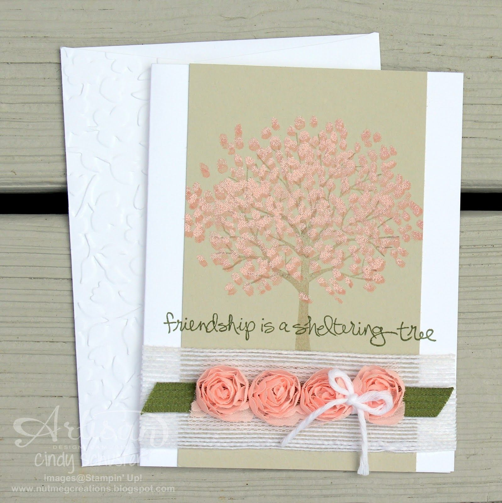 Sheltering Tree Stamp Set and Embossing Powder for some spring cherry blossoms ~ Cindy Schuster
