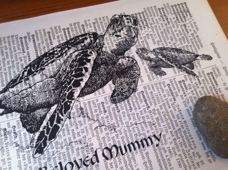 Beloved Mummy Seaturtles Art Print on Antique 1896 by owlstudio, $10.00