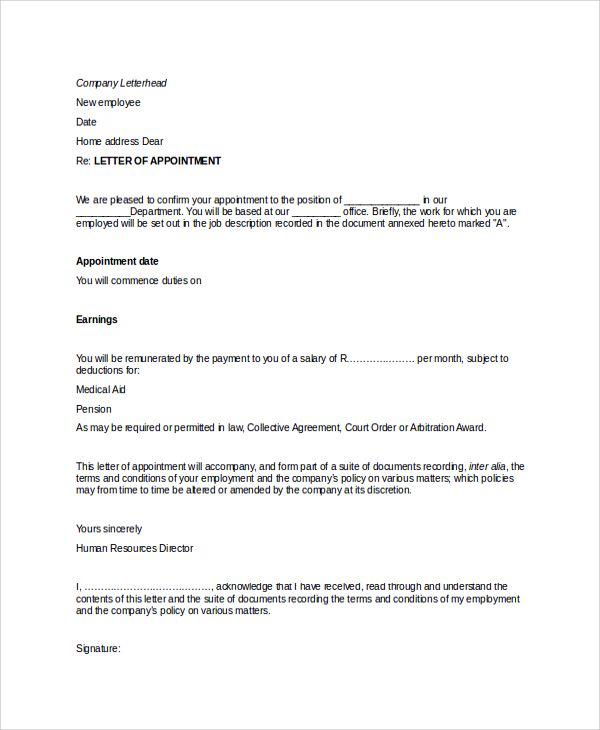 format appointment letter templates writing professional letters - appointment letters in doc