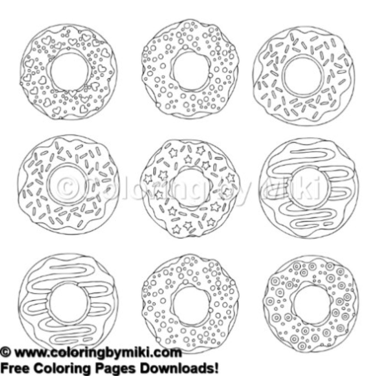 Donuts Coloring Page 476 freeprintable coloring coloringforadults pattern 模様