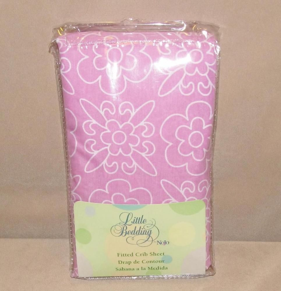 Nojo Little Bedding Butterfly Blossoms Pink White Flower Fitted Crib Sheet NIP #NoJo