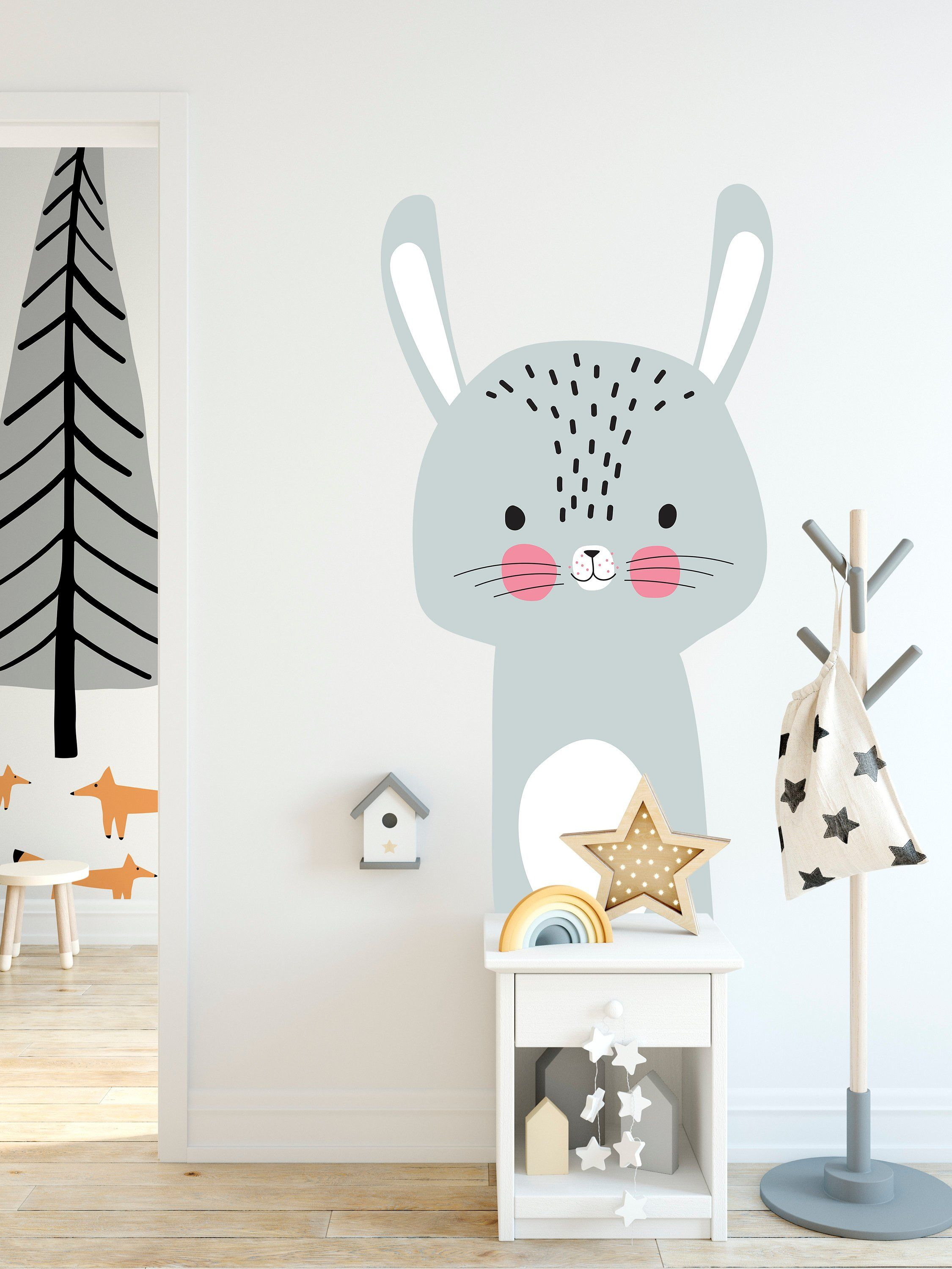 large wall decal for kids with rabbit removable self on wall stickers for kids id=36184