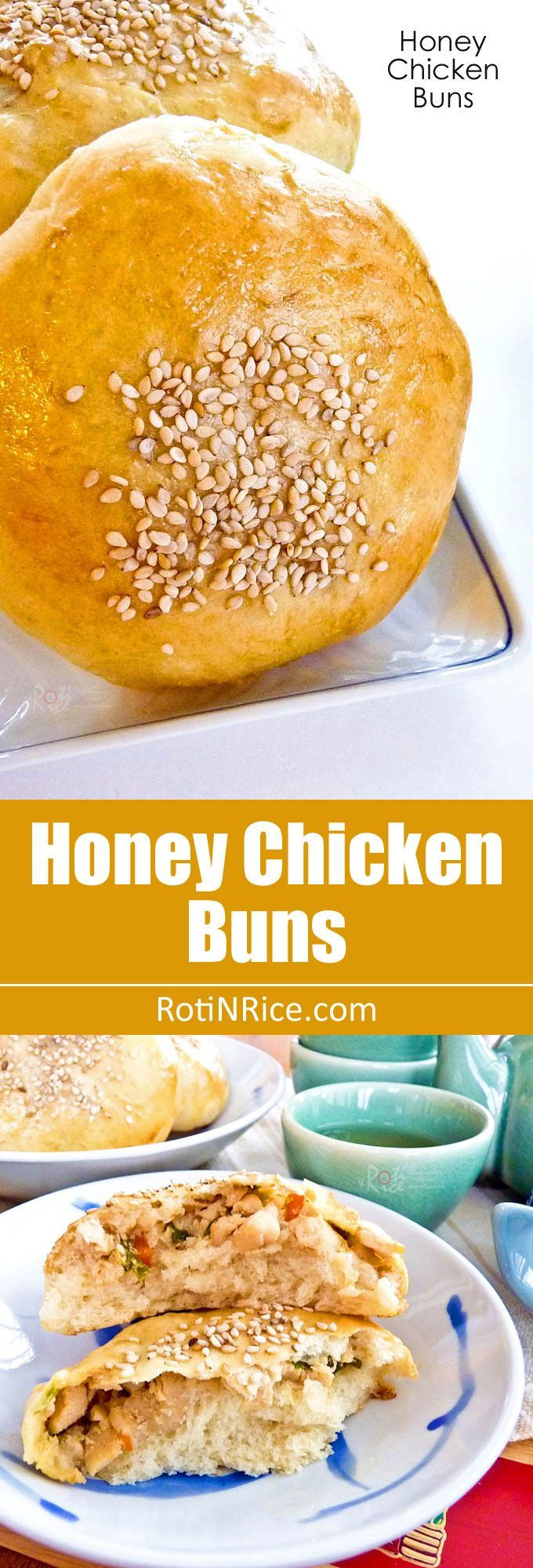 Delectable sesame seeded Honey Chicken Buns filled with honey and ginger flavored chicken. They are perfect for a snack or light lunch. | http://RotiNRice.com