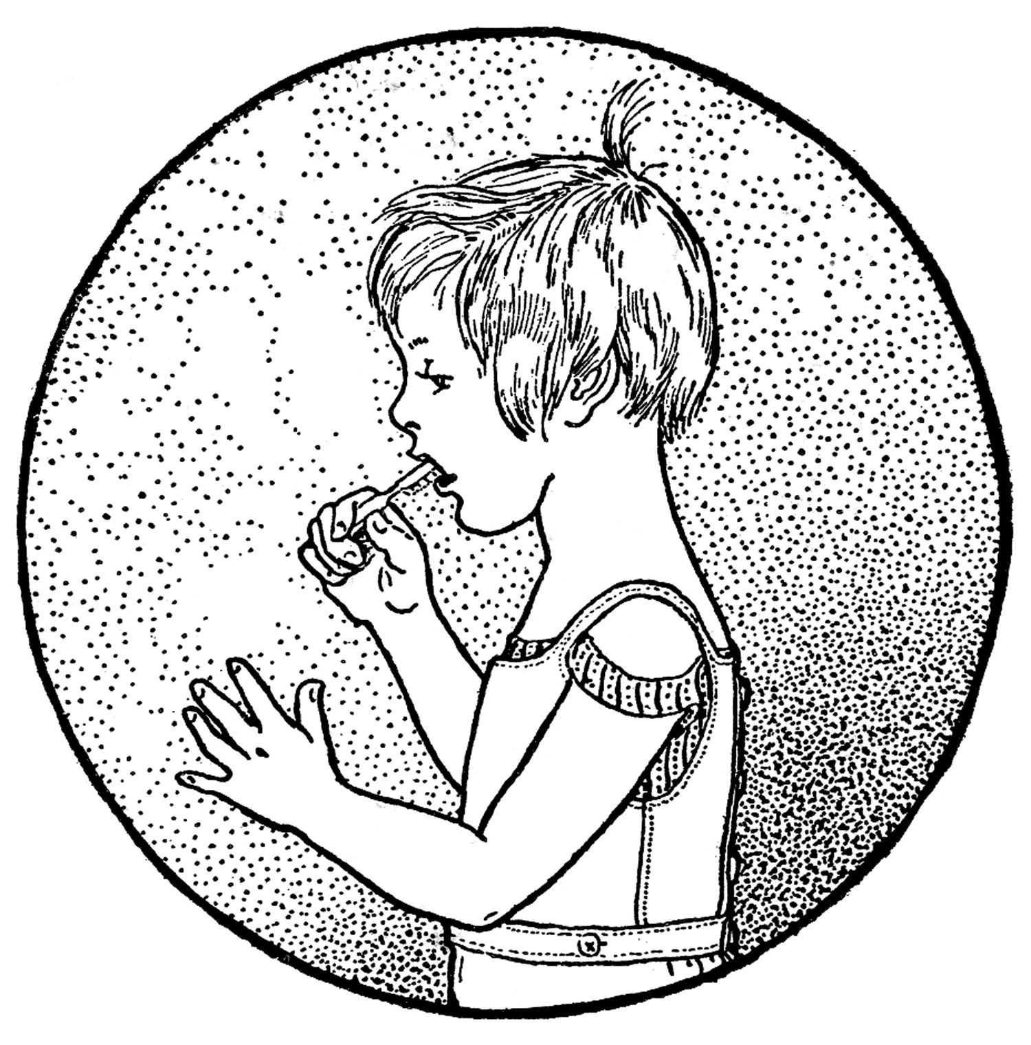 vintage clip art - boy & girl brushing teeth | printables