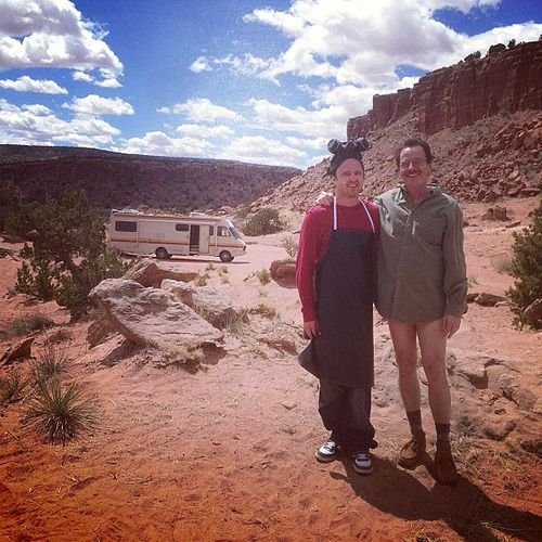 On location: Aaron Paul and Bryan Cranston on the last day of shooting. Photo by Breaking Bad location scout Alex Gianopoulos.
