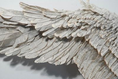 """vethox:  """" Susan Hannon's lyrical, ten-foot wide sculptures of """"wings"""" crafted out of abandoned Bibles, giving new life to books.  """""""