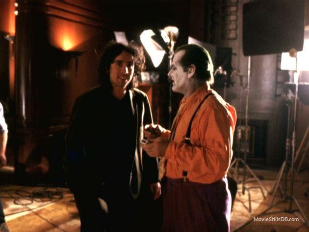 Batman Behind The Scenes Photo Of Jack Nicholson Tim Burton