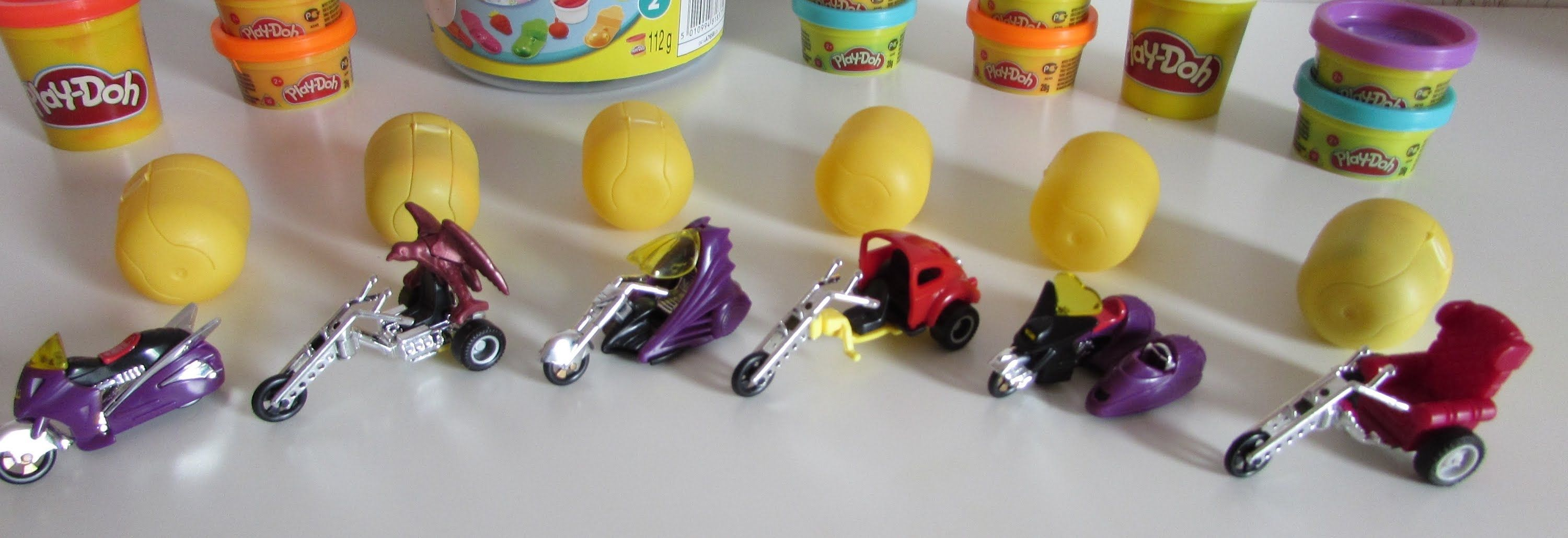 B toys cars  Motorcycle Kinder Surprise eggs covered with Play Doh dough Nice