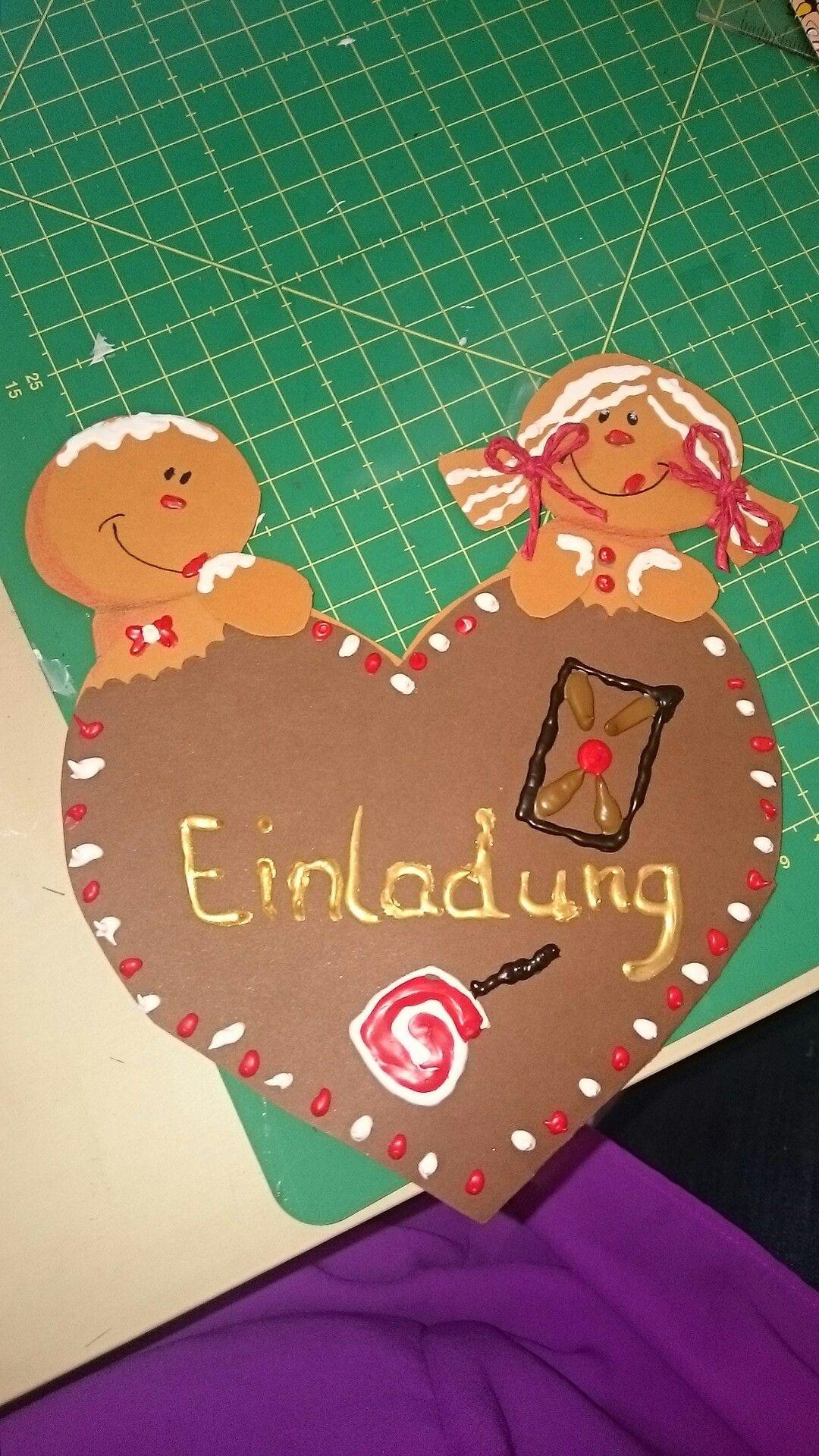 Hänsel und Gretel Einladung Kindergeburtstag Märchen Lebkuchen ...